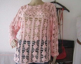 Vintage crochet Ajour crochet sweater handmade pink S / M