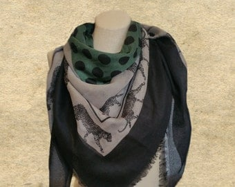 Square scarf shawl, Swallow tiger scarf, Womens square scarf, Clothing accessory,  Leopard print scarf, ladies scarf,  Women's wrap shawl,