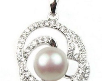 White pearl pendant, charm freshwater pearl pendant , crystal pendant, 925 sterling silver pendant, pearl bridal necklace, 9-10mm, F2315-WP