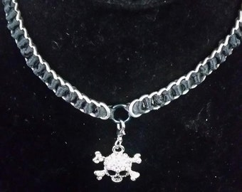 Skull and cross bones BDSM Collar/Necklace Free Shipping