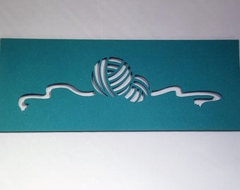 """Foam Stencil featuring a Ball of Yarn 10"""" x 4"""""""