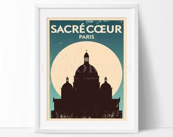 Paris Print, Sacre Coeur Vintage Travel Poster, City Illustration, City Poster, City Print, Retro Poster, Vintage Travel Print, Not Framed
