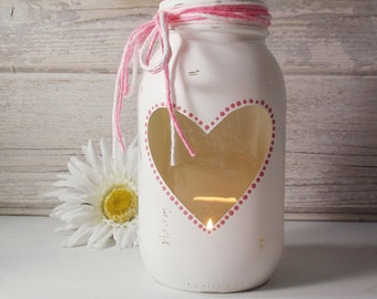 Heart Window Dotted Hand Painted Quart Mason Jar Candle Holder Candy Jar-Country Decor-Cottage Chic-Shabby Chic-French Chic