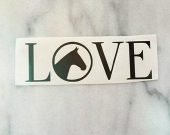 """Horse Car Decal """"LOVE"""" - equestrian sticker"""