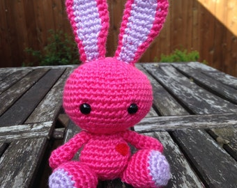 Crocheted Bunny Plush: Strawberry Tart