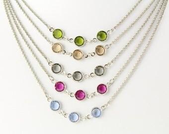 Crystal Necklace, Swarovski Bezel Set Crystal Necklace, Three Stone Swarovski Channel Crystal Necklace, Bridesmaid Gift, Gift for Her