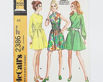 70s Party Dress | McCalls 2386 Misses Dress in Three Versions | 70s Sewing Pattern