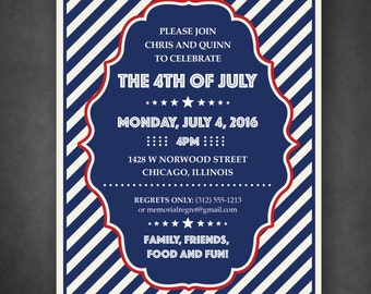 Striped Patriotic Invitation — Memorial Day, 4th of July or Labor Day or any American Event —DIY, print at home! Fun, Hip and Quirky!