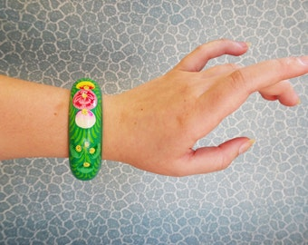 Green floral painted wooden bangle