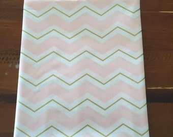 Pink, Gold and White Chevron Print Fabric