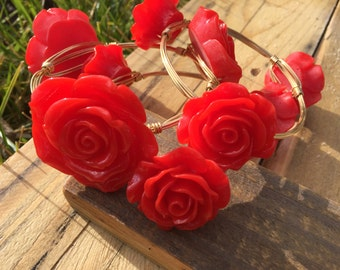 Wire wrap red rose resin bracelets