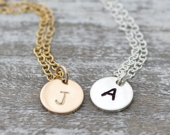 Initial Necklace- Hand Stamped Initial- Disc Initial Necklace- Mom Necklace- Bridesmaid Gift- Silver or Gold Filled Hand Stamped Necklace