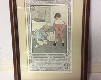 Vintage Ad - Framed Ivory Soap Ad - 1899 Framed Ivory Soap Ad - Jessie Willcox Smith Print - A Good Foundation - Proctor and Gamble Co.