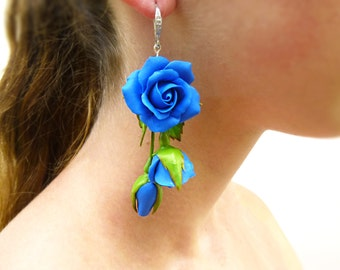 Floral Earrings, Blue Earrings, Blue Flower Earrings, Rose Earrings, Flower Jewelry, Jewelry Earrings, Polymer Clay Jewelry, Long Fashion