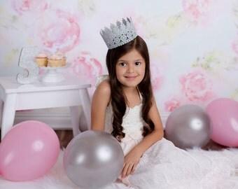 Silver glitter birthday crown - glitter birthday crown - cake smash - babys first birthday - birthday hat - gold crown - birthday party
