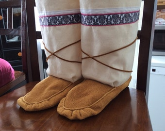 Women's canvas mukluks
