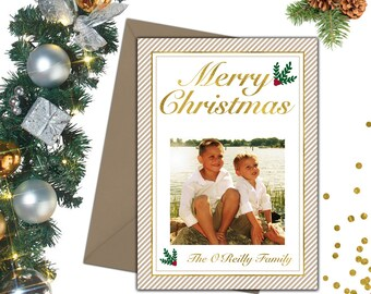 White and Gold Christmas Photo Card; Holiday Cards; Photo Christmas Cards; Photo Holiday Cards; Christmas Card Photo; Holiday Photo Cards