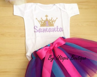 Customized Onesie/t-shirt  with Crown  # and Name