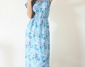 UMe Long Blue Periwinkle Maxi Dress
