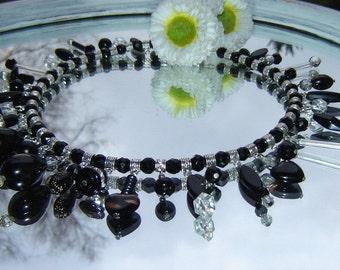 Necklace - necklace - a dream in black - vintage Moranoglas -.