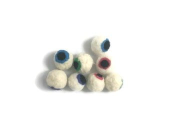 Needle felted eyeball cat toy