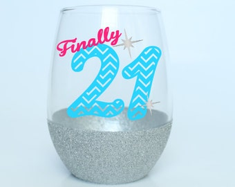 21st Birthday Wine Glass - Birthday Wine Glass - Glitter Wine Glass - Stemless Wine Glass - 21st Birthday Gift - Free Personalization!