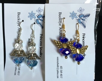 Angel earrings made with  glass beads and silver coated wire