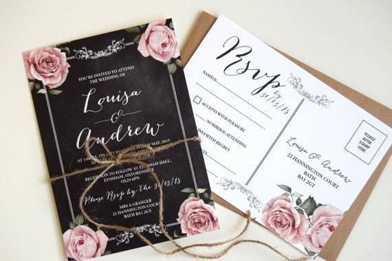 Rustic Chalkboard Wedding Invitation and Vintage Rsvp Postcard Set (sample)