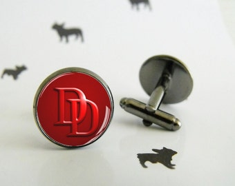 Daredevil - Cufflinks with glass cabochon - Special wedding gift