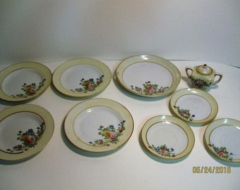 Doll dishes- Made in Japan - flower pattern