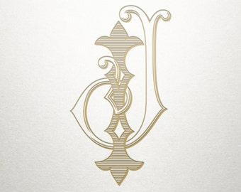 Wedding Initials Logo - IJ JI - Wedding Initials - Vintage