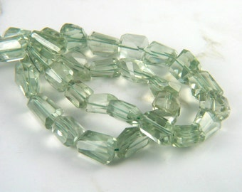 Natural Green Amethyst Faceted Free Form Nuggets Gemstone Beads for Jewelry Creations - 5 Beads Set