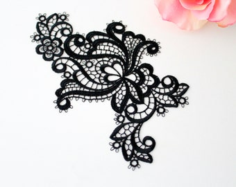 Swiss embroidery: lace applique black