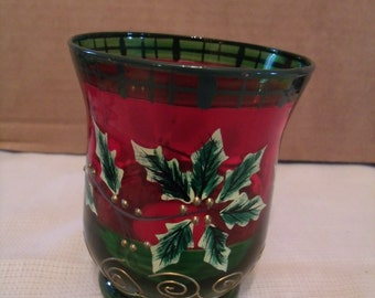 Red/green Holly and Berries Christmas Glass Candle Holder, (# 84/6)