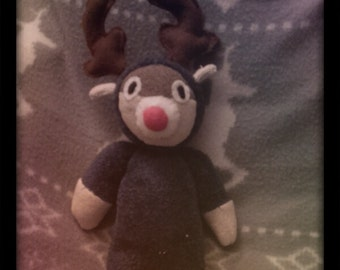 Soft Cute and Cuddly Blue, brown and red Fleece Sock Christmas Reindeer