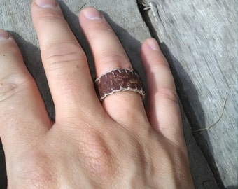 Leather Ring - Brown blanket stitched Leather Ring - Brown Ring Band - Leather Jewelry - Leather Band -