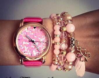 "WATCH BRACELET SET""Shiny"" - Pink,women's set of pink watch and three beautiful pink bracelets,unique gift for women,watch bead bracelet"