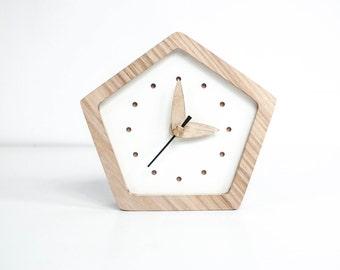 wooden desk clock oak wood mini clock angular desk clock white wooden table - Desk Clocks