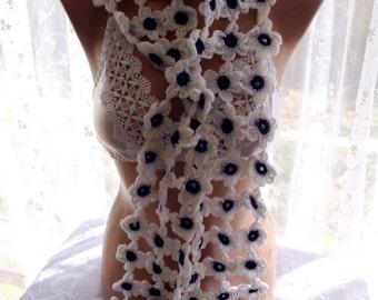 crochet lariat daisy scarf, crochet scarf, , crochet flower scarf, scarves for her