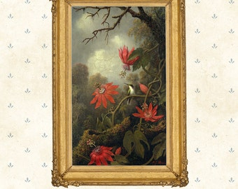 Hummingbird and Passionflowers, Martin Johnson Heade, 1875 .American art print, Giclee replica.Flowers, birds, exotic landscape painting