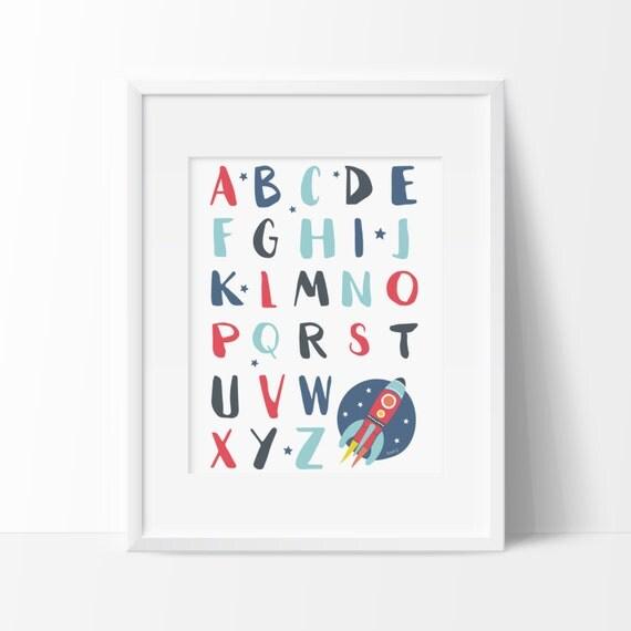 Affiche alphabet fusée Affiche éducative Déco espace et