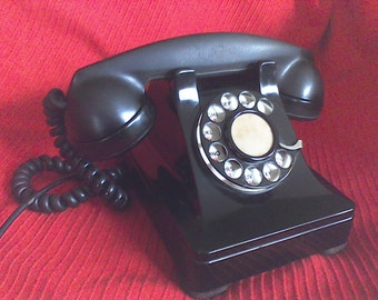 Vintage Dial Phone, ,old telephone, black,Rotary,Bake-lite