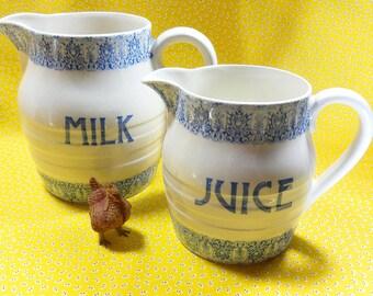Pitchers Milk and Juice