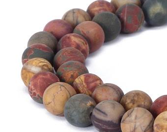 Matte Round Well Polish Picasso Jasper Gemstone Loose Beads 15.5 Inch per Strand, Size 6mm/8mm/10mm/12mm.R-M-JAS-0198