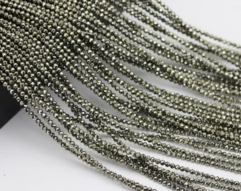Pyrite Faceted Round Loose Beads 15.5'' Long Per Strand. Size 2/3/4mm.R-F-PYR-0331