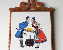 Vintage Kitchen Trivet, Enesco Orange Cast Iron Ceramic Tile Trivet, Hot Plate, Pot Holder, Pot Rest, Couples Gift, Vintage Couple