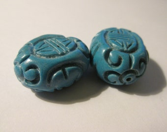 Carved Chinese Turquoise Oval Bead with Chinese Shou Motif, 25mm, Set of 2