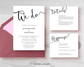 PRINTABLE We do Wedding Invitation Kit- Modern - Minimalist - Calligraphy - Typography - Black & white - Simple - Classic - PDF Only