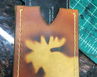 Handcrafted Genuine Leather Credit Card Wallet with Moose