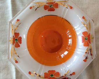 Art Deco Indiana glass console dish center table bowl orange paint poppy flowers pattern